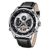 SURVAN WatchDesigner Orologio scheletrato meccanico automatico con doppio fuso orario da uomo Cinturino in vera pelle (Argento)