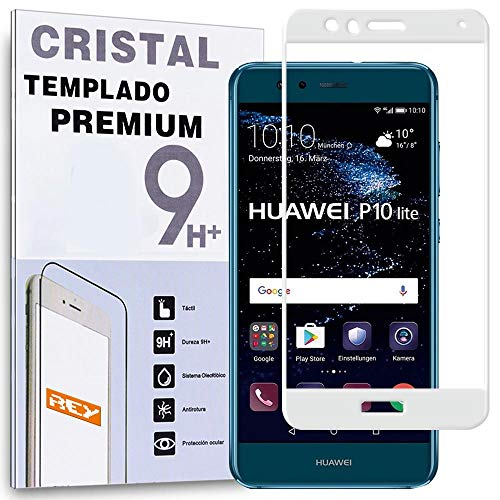 REY Protector de Pantalla Curvo para Huawei P10 Lite, Blanco, Cristal Vidrio...