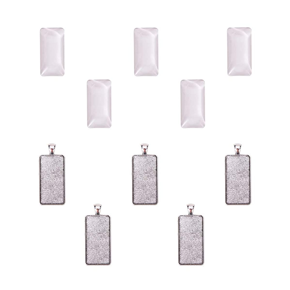 PH PandaHall 5 Sets Pendant Makings Sets - 5pcs Rectangle Antique Silver Alloy Pendant Trays Bezel Settings and 5pcs Glass Cabochon Dome Tiles Clear Cameo for DIY Jewelry Making