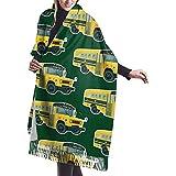 Elaine-Shop School Bus Bufanda de cachemira suave para mujer envuelve bufanda grande de invierno