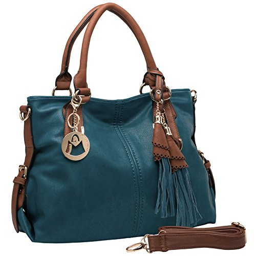 MG Collection THALIA Top Handle Tassel Decor Dark Teal Tote Purse/Shoulderbag