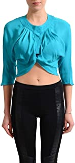 Collection Blue Women's Cropped Blouse Top US S IT 40
