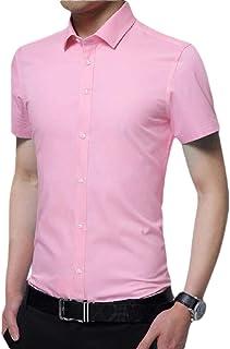 Gocgt Men's Business Shirt Short Sleeve Button Down Dress Shirts