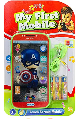 My Talking First Learning Kids Mobile Smartphone with Touch Screen and Multiple Sound Effects, Along with Neck Holder for Boys & Girls - Multi Color (Captain America)