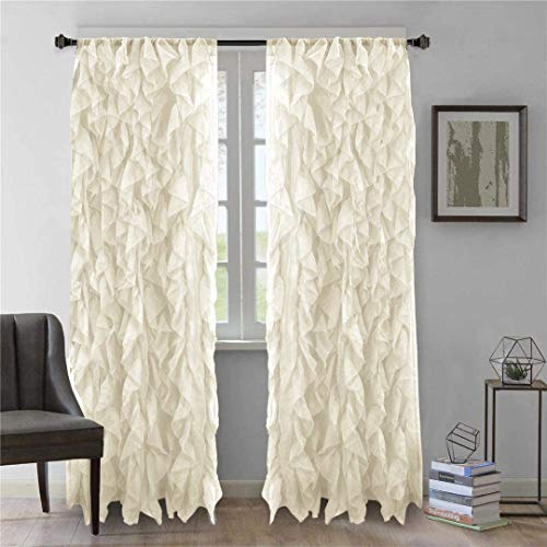 "Diamond Home 2pc Cascade Shabby Chic Sheer Ruffled Curtain Panel (Beige, 84"" L Panel Pair)"
