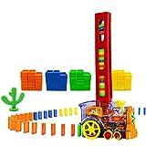 MENGDUO 80 Pcs Domino Train Blocks Rally Electric Toy Set, Train Model