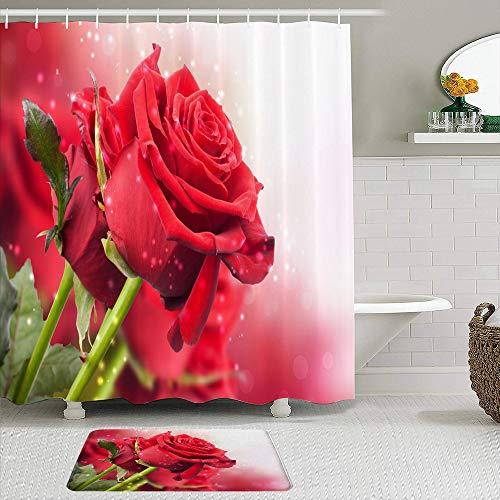 SHENGLIPINK Stoff Duschvorhang und Matten Set,Red Rose 3D Wallpaper herunterladen,wasserdichte Badvorhänge mit 12 Haken,utschfeste Teppiche