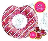 Aufblasbar angebissener Donut Ø 120 cm Schwimmring Schwimmreifen Luftmatratze Schwimmkissen für Pool & Wasser Wasserspielzeug, mit 1x Getränkehalter für Kinder & Erwachsene pink (Pinker...
