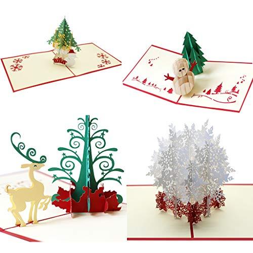 UNWSTYU Tarjetas de felicitación 3D, 4 unidades, diseño de Navidad,