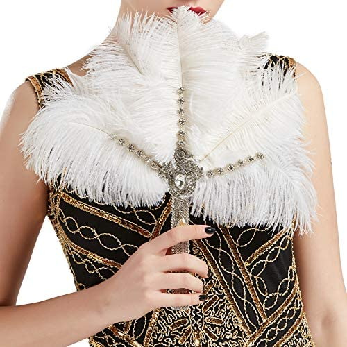 BABEYOND Vintage Bridal Feather Bouquet 1920s Ostrich Feather Fan Crystal Bridesmaid Bouquet product image