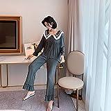 STJDM Bata de Noche,Pijamas de Mujer Sueltos de Gran tamaño cómodo Traje de Vestir Coreano para el hogar Conjunto de Pijamas de Encaje Blanco Ropa Rosa Talla única Darkgray