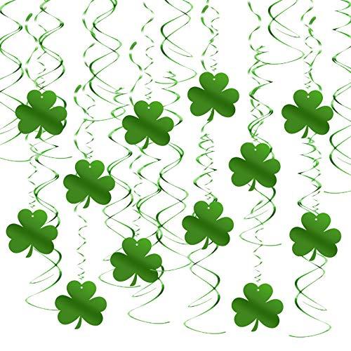 TAZEMAT 30 Pcs Décoration Suspension pour Saint Patrick Tourbillon Vert de Trèfle à Trois Feuilles en PVC Fourniture Chanceuse en Spirale avec Crochet pour Jour de St Patrick