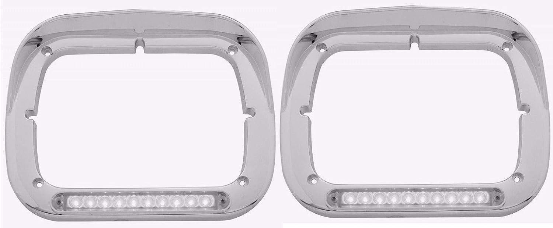 Pair of Peterbilt Single Max 47% OFF Headlight Bezels Special sale item Lens Amber 1 Clear 6x8