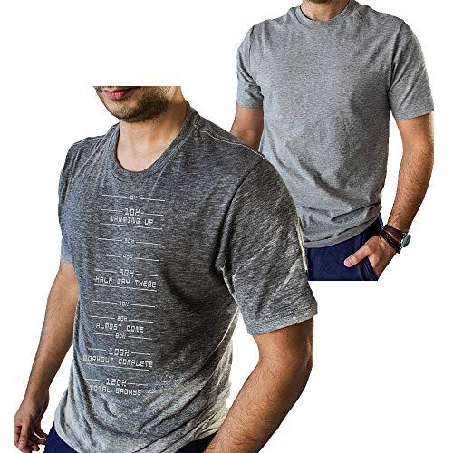 Divertida camiseta para hombre con tecnología de activación por el sudor y medidor de progreso para irte a casa cuando llegues al 100%, ideal como regalo para el gimnasio - gris - Large