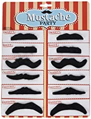 "One Pack of 12 Black Mustaches Assorted styles in every package such as ""the smarty, the Rogue, the scoundrel, the Casanova, the party's, and the bandito Self adhesive, just peel and stick"