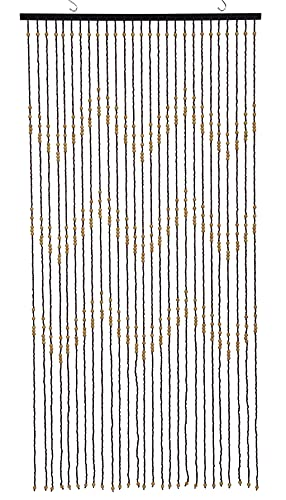 Bamboo Beaded Curtain Ziggy 27 Stands, Zigzag Pattern Bamboo and Wooden Doorway Beads-Boho Bohemian Curtain (Brown, 1pc 3FTx6FT)