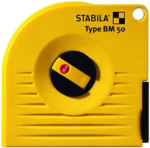 STABILA Bandmaß BM 50 W, 20 m, weißlackiertes Stahl-Messband, mit Universalhaken