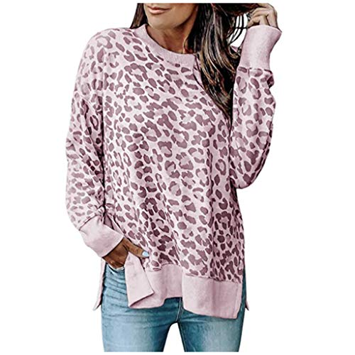 Damen Tunika Tops Leopardenmuster Shirt Langarm Rundhals Bluse Tops Freizeitmode Pullover Tops T-Shirt