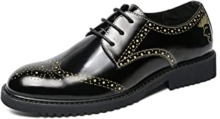 Sygjal Men's Business Oxford Casual New Light Patent Leather Anti-skid Breathable Brogue Shoes (Color : Gold, Size : 42 EU)