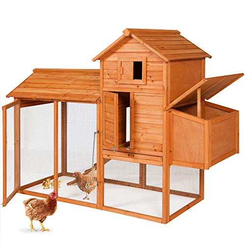Best Choice Products 80in Outdoor Wooden Chicken Coop Multi-Level Hen House, Poultry Cage w/Ramps, Run, Nesting Box, Wire Fence, 3 Access Areas