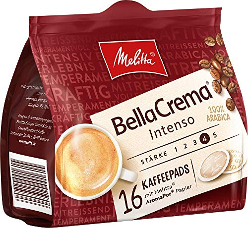 Melitta gemahlener Röstkaffee in Kaffeepads, 10 x 16 Pads, 100% Arabica, starkes Aroma, intensiver Geschmack, Stärke 4, BellaCrema Intenso