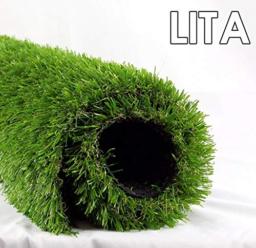 LITA 7ft x 13ft Realistic Deluxe Artificial Grass Synthetic Thick Lawn Turf Carpet Perfect for Indoor/Outdoor Landscape, 7'X13', Green
