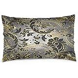 Funda de almohada de poliéster de flores de oro y negro en