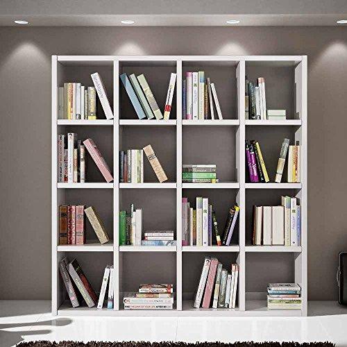 Giò Luxury Libreria Bianco Frassinato, Stile Moderno, In Mdf Laminato E Struttura In Acciaio - Mis. 175 X 30 X 175