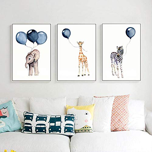 Nordic Creative kinderkamer decoratief schilderij dier op ballon muurkunst linnen tuindecoratie -50cmx75cmx3pcs No Frame