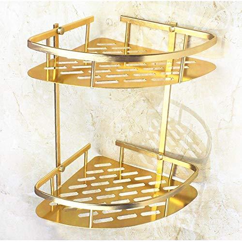 Bathroom Shelf Corner Basket Gold Shower Caddy for Shampoo Soap Hair Dryer Holder Triangle Shelves Wall Mounted
