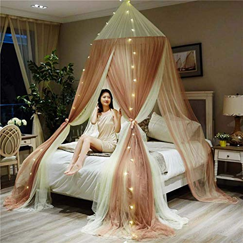 1.5-1.8M Large Romantic Dome Mosquito Net Curtain Kids Princess Bed Canopy Round Tent Bedding Decor,with String Light,B