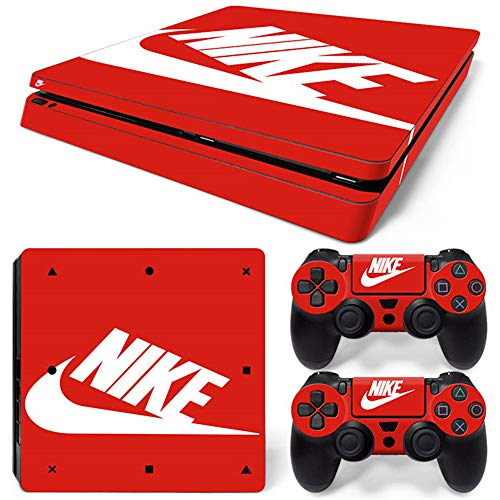 PS4 Slim Whole Body Vinyl Skin Sticker Decal Cover for Playstation 4 Slim System Console and Controllers - Shoebox Red
