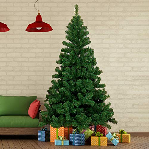 Artificial Christmas Tree, 6ft Premium Unlit Hinged Spruce Full Tree, with Metal Stand, Easy Assembly, for Indoor and Outdoor
