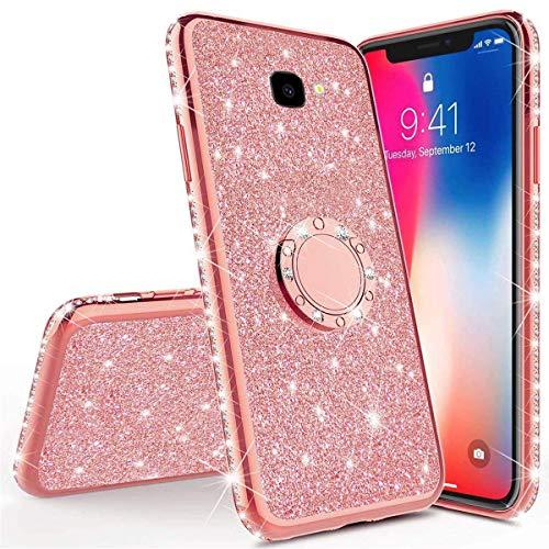 Karomenic Silikon Hülle kompatibel mit Samsung Galaxy J4 Plus Glänzend Bling Glitzer Schutzhülle Weiche TPU Handyhülle mit Ring 360 Grad Ständer Diamant Tasche Case für Frauen Mädchen,Rosegold