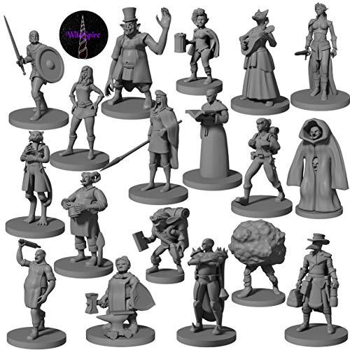 18 miniaturas de pueblos y héroes para DND de 28 mm | Minis de fantasía de mesa creativos para mazmorras, dragones, figuras de D&D, Pathfinder y TTRPG | incluyen escenarios de campaña y misiones