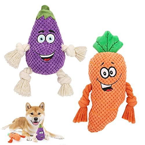 Pawaboo Plüschspielzeug für Hund, Aubergine & Karotte Plüsch Hundespielzeug Interaktiv Hundspielzeug mit Quietscher und Baumwollseil, Weich Robust für Mittelgroße Kleine Hunde Katzen