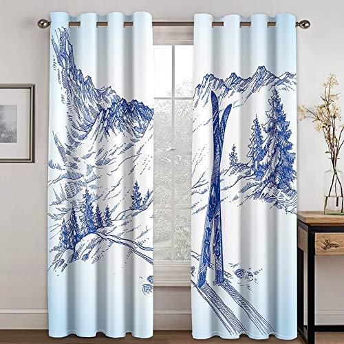 ANAZOZ 2 Paneles Cortinas Opacas Cortina Poliester Exterior Montaña y Árboles Azul Blanco Cortina para Dormitorio Tamaño 264x115CM