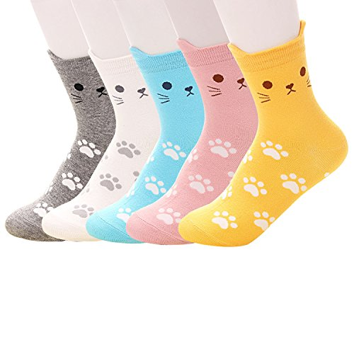 Pack of 5 Women Girls Fun Cats Cartoon Sweet Animal Pattern Cotton Crew Floor Socks (Style2)