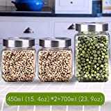 NYKK Einmachgläser 3 Stück Quadrat-Glas Kanister Set mit Edelstahl-Schraubdeckel, rund Trockene Lebensmittel Lagerbehälter