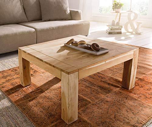 DELIFE Wohnzimmertisch Indra Akazie Natur 80x80 cm Massivholz Couchtisch