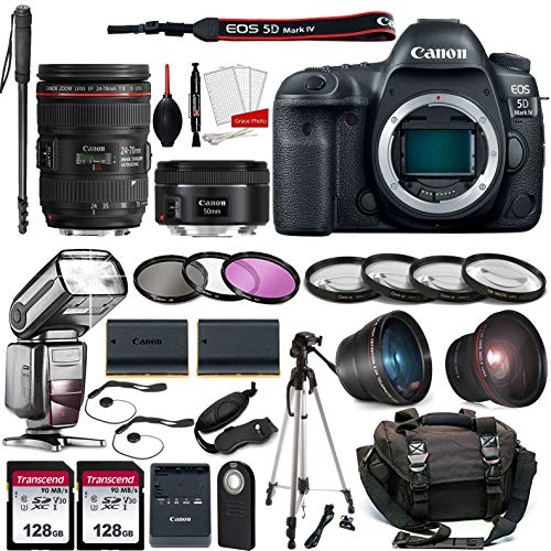 Canon EOS 5D Mark IV DSLR Camera with 24-70mm f/4L Lens + EF 50mm F1.8 STM Lens Kit Prime Travel Bundle