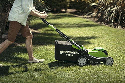 Greenworks Tools Cordless Lawnmower G40LM41K2X (Li-Ion 40 V 41 cm Cutting Width up to 600 msq 2-in-1 Mulching & Mowing 50 Litre Grass Bag 5-Level Cutting Height Adjustment with 2 Ah Battery & Charger)