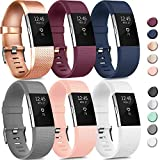 6 Pack Sport Bands Compatible with Fitbit Charge 2 Bands, Adjustable Replacement Wristbands for Women Men Small Large (6 Pack B, Small)