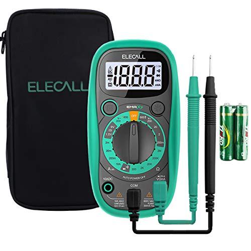 Digital Multimeter Tester Volt Meter with Case Ohm Volt DC AC Pocket Voltmeter Amp Test and Diode Tester Multimeter with LCD Display and Rubber Case, (with Multimeter Bag)