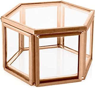 Koyal Wholesale Modern Rose Gold Geometric Hexagon Glass Ring Box, 3 x 1.5 inch Terrarium for Proposal, Engagement, Wedding Ceremony, Ring Bearer, Gift, Keepsake, Jewelry Organizer Display Case
