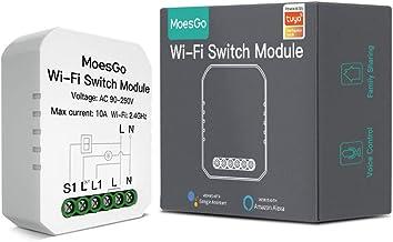 MoesGo Mini DIY WiFi Smart Light Switch Single Pole/3 Way Module Smart Life/Tuya APP Wireless Remote Control Compatible wi...
