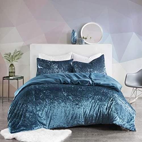 SCM Bettwäsche 230x220cm Blau Einfarbig Mikrofaser Übergröße 3-teilig Bettbezug Kissenbezüge 50x75cm Crushed Velvet Ideal für Winter