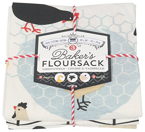 Now Designs Floursack paños de Cocina, Conjunto de Tres, Azul Rey/Blanco, Farm to Table, Set of Three, 1, 3