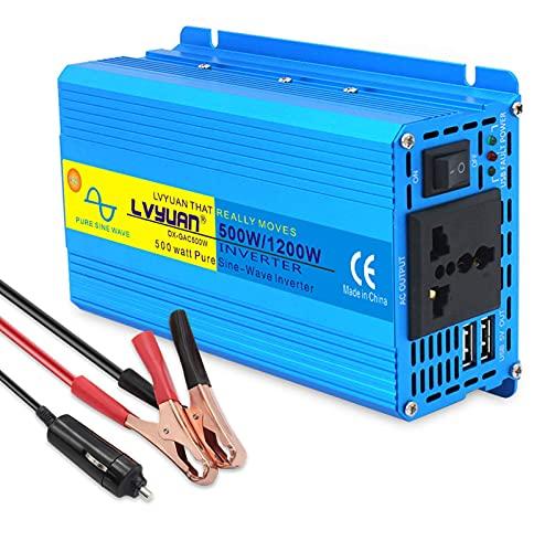 FHISD Car Power Inverter 500W/1200WAuto Pure Sine Wave Inverter DC 12V 24V to 220V 230V 240V AC LCD Display Power Inverter