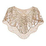 Metme Women's Vintage 1920s Flapper Shawl Sequins Gatsby Evening Bolero Cape Coffee + Gold, Free Size